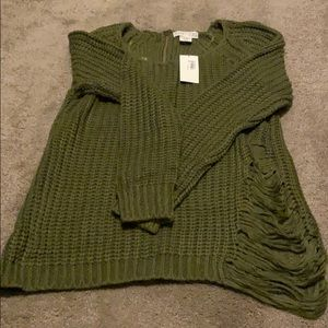 Green cable knit distressed sweater